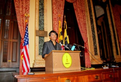 Announcing her decision not to seek re-election, Mayor Stephanie Rawlings-Blake addressed the media. (Photo by Fern Shen)