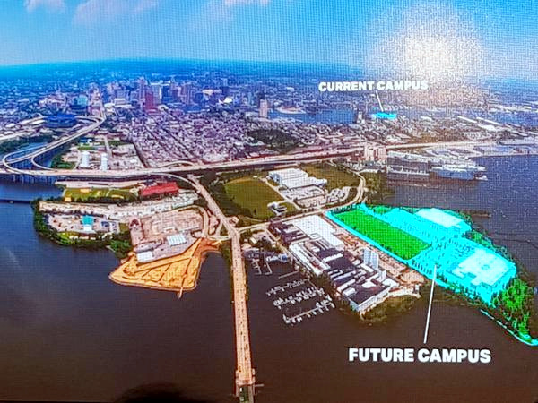 Map of Under Armour's future Port Covington campus includes Ferry Bar Park at lower-right tip of the campus. Swann Park is shown at left under I-95 (in green) and the West Covington Park recently opened by the National Aquarium is in brown west of Hanover Street Bridge. (Under Armour Investors Day illustration)