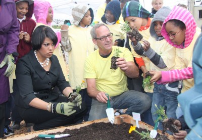 In 2012, Rawlings-Blake with children at a community garden in West Baltimore. (Photo by Fern Shen)