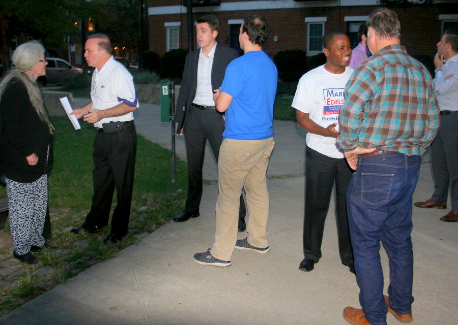 Ed Marcinko and Matt McDaniel talk with residents after the Q&A last night. (Photo by Danielle Sweeney)