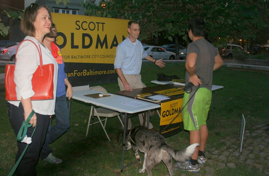 Candidate Scott Goldman talks to residents before the Q&A at Thames Street Park.  (Photo by Danielle Sweeney)