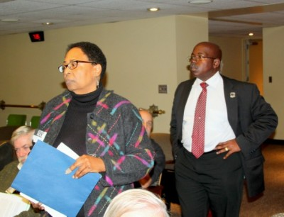 Two residents who testified against the project, Linda Brown and George Van Hook. (Photo by Fern Shen)