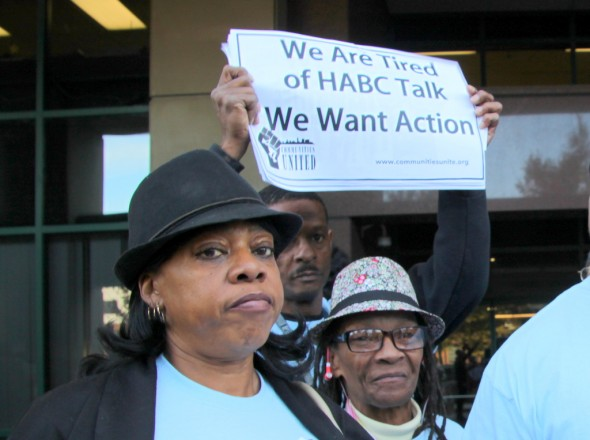 Protesters outside Baltimore Housing, including Rochelle Barksdale, at left. (Photo by Fern Shen)