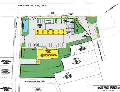 Latest site plan for Hamilton Royal Farms project. (Photo by Fern Shen)