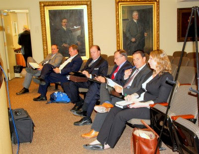 Lawyers and expert  witnesses at the Zoning Board on behalf of Royal Farms. (Photo by Fern  Shen)