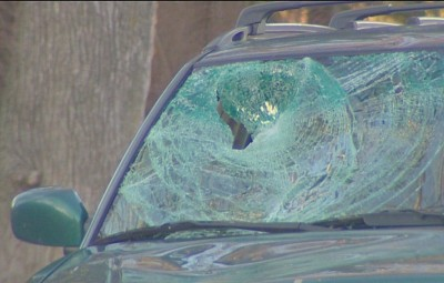 The windshield of Heather Cook's Subaru after the crash. (Photo credit: WBAL-TV)