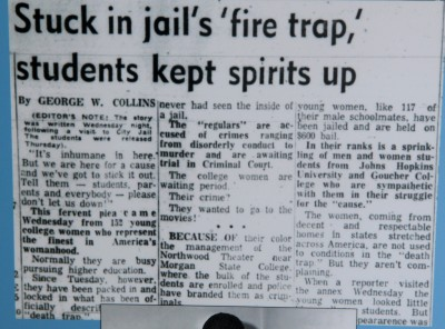 A reporter's account of conditions at the city jail where students were held. (Morgan State University exhibit)