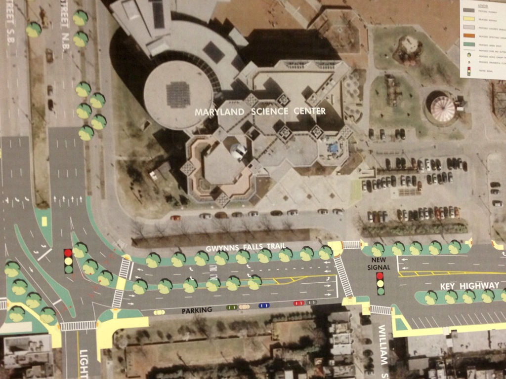 Trees and green space along Key Highway – and median strips guiding cars turning north and south from Light Street – are among the chief improvements of the long-delayed project. (Baltimore DOT)