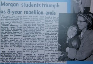 Coverage of the dropping of charges against students arrested for protesting at the Northwood Theatre. (Baltimore Afro-American newspaper, Morgan State University exhibit.)