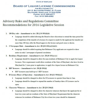 Proposed legislative changes document. (Source: Board of Liquor License Commissioners)