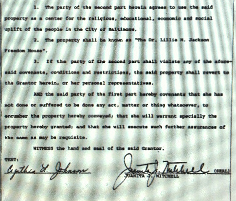 Copy of the 1977 deed between Juanita Mitchell and the Betheel AME Church that specifies the intended uses of the building. (MdLandRec.net)