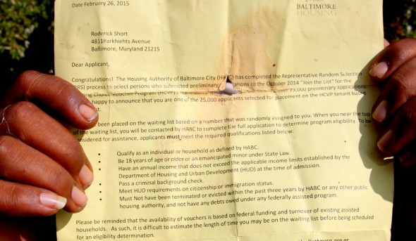 Roderick Short's letter informing him he is on the list to receive Section 8 subsidized housing. (Photo by Fern Shen)