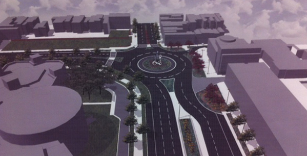The original plan by the city for a traffic circle at Key Highway and Light Street was rejected as impractical and too expensive. (Baltimore DOT)