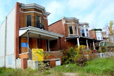 Rowhouses the city plans  to tear down on Park Heights Avenue in Northwest Baltimore. (Photo by Fern Shen)