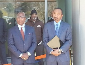 Morgan State University president David Wilson and Board of Regents chairman Kweisi Mfume. (Photo by Ed Gunts)