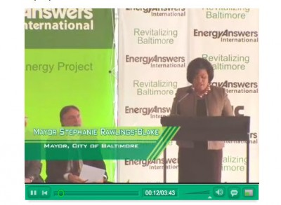 Still from video of the project kickoff, featuring Rawlings-Blake and others, on Energy Answers' website.