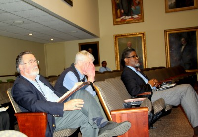 William Miller, Stan Wilson and Ronald Anthony Miller wait their turn to speak at Liquor Board rules hearing. (Photo by Fern Shen)