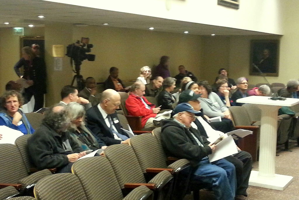 The hearing attracted a diverse, if mostly elderly, crowd. (Photo by Ed Gunts)