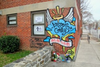 Memorial in the place where Freddie Gray was arrested on Presbury Street. (Photo by Fern Shen)