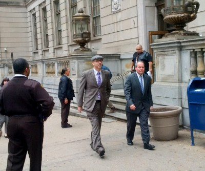 Defense lawyers Gary Proctor and Joe Murtha leaving court after closing arguments in the Porter case yesterday