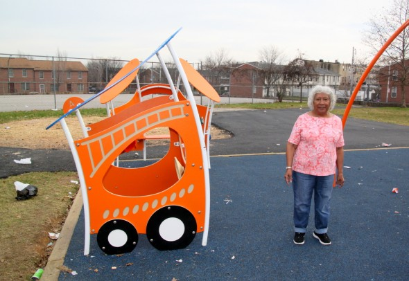 Civil rights activist Helena Hicks at the new Gilmor Elementary playground she was instrumental in pushing for. (Photo by Fern Shen)