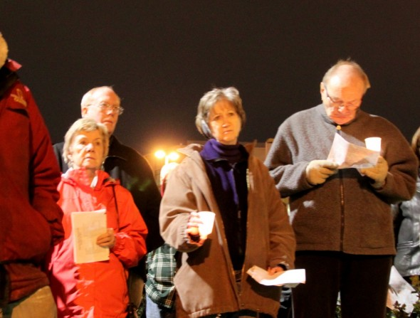 At a memorial vigil speakers called for compassion for the city's homeless residents. (Photo by Fern Shen)