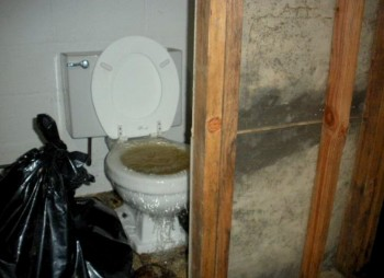 Overflowing commode at the Johnson's home, which continued for hours. (Source: Environmental Integrity.)