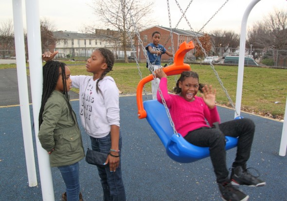A formerly dilapidated playground at Gilmor Elementary School, replaced after the April unrest. (Photo by Fern Shen)