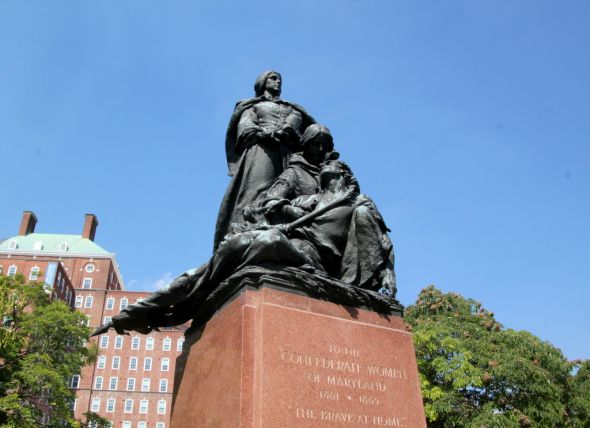 The Confederate Womens monument is one of four sculptural works commemorating the Confederacy. (Photo by Fern Shen)