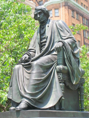 he Roger B. Taney statue in Mount Vernon Place. (Photo credit: Wikipedia)