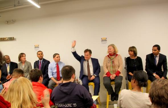 Candidates (l-r): Carl Stokes, Elizabeth Embry, Joshua Harris, Patrick Gutierrez, David Warnock, Cindy Walsh, Catherine Pugh and Calvin Young. (Photo by Fern Shen)