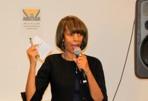 Sen. Catherin Pugh addresses the Impact Hub forum. (Photo by Fern Shen)