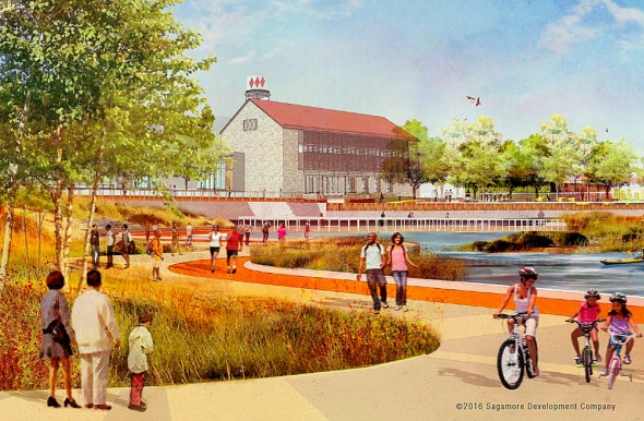 Developer's depiction of future public waterfront space near Under Armour's headquarters at Port Covington. (Graphic: Sagamore Development Company)