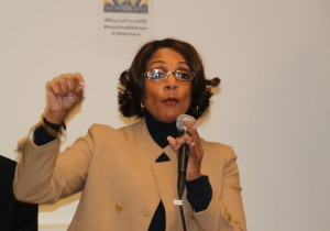Sheila Dixon emphasizes a point, at mayoral forum last night. (Photo by Fern Shen)