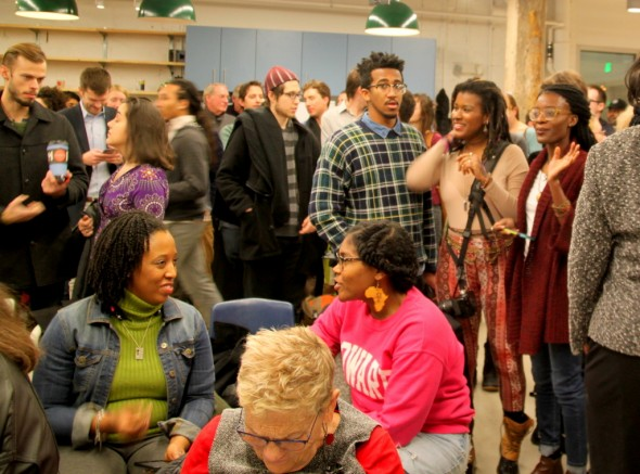 Crowd awaiting the start of mayoral candidates' forum organized by Impact Hub. (Photo by Fern Shen)