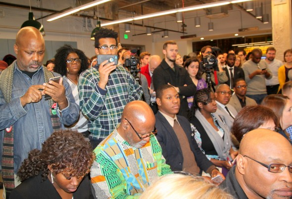 Audience at the Baltimore Impact Hub listening to mayoral candidates at a forum. (Photo by Fern Shen)