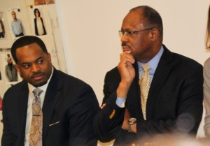 Councilmen, and mayoral candidates, Nick Mosby and Carl Stokes at the Impact Hub forum. (Photo by Fern Shen)
