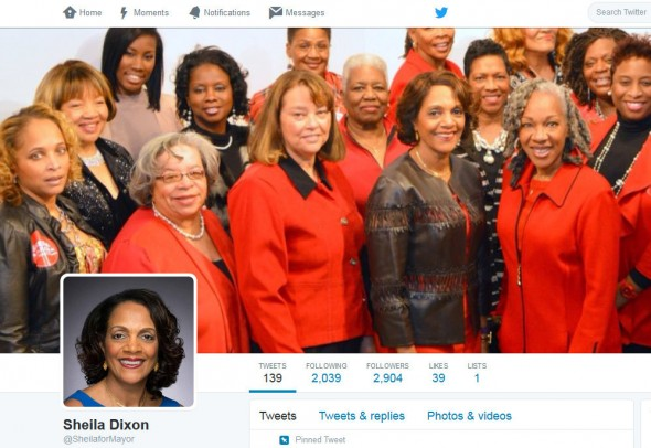 Sheila Dixon's Twitter page photo, a good representation of her demographic base. (Photo: @SheilaforMayor)