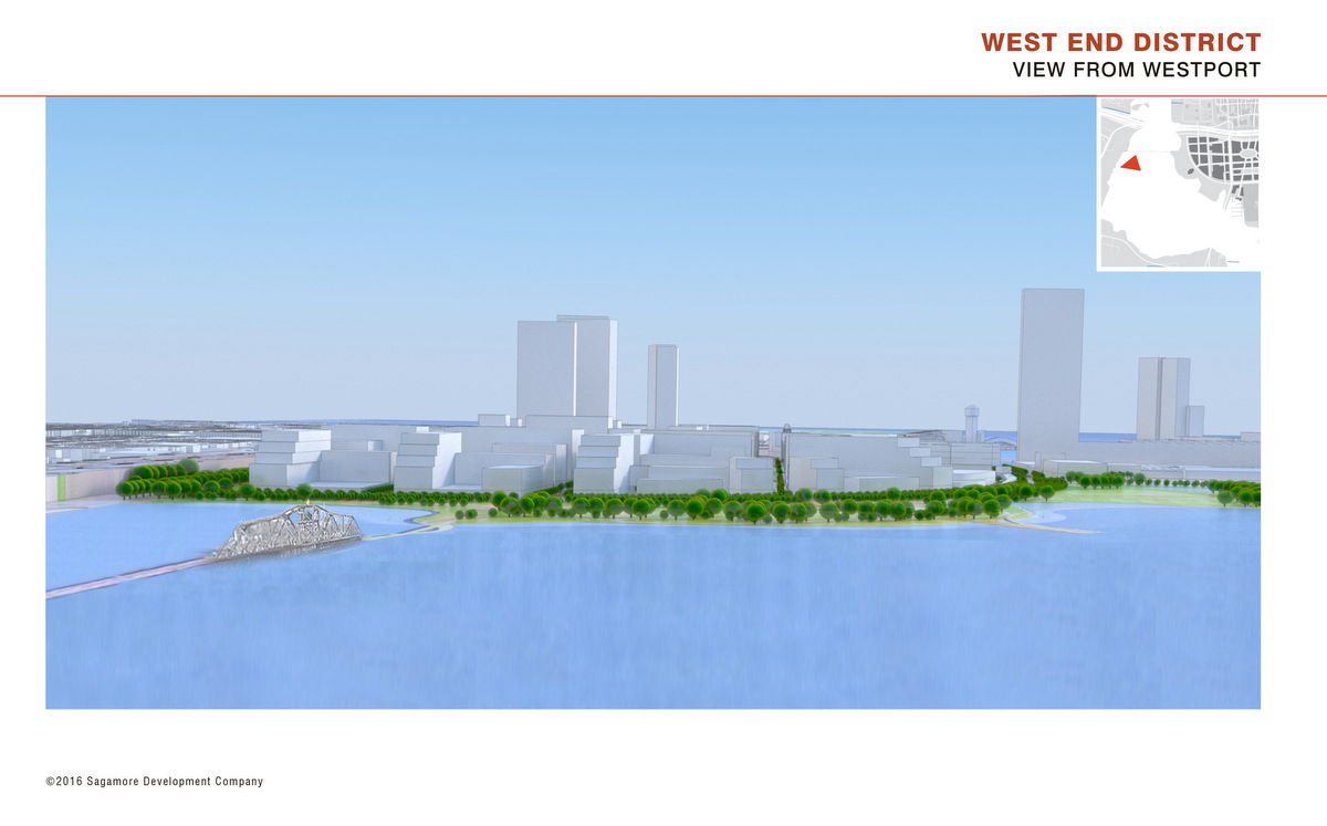 A rendering of new buildings nestled around the current Swann Park, as seen across Middle Branch from Westport. (Sagamore Development)