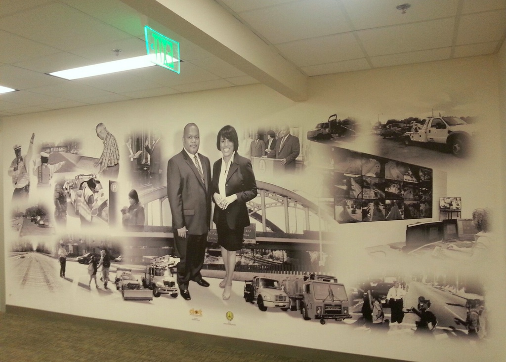 Mural celebrating the Baltimore DOT's mission, and leader, at department headquarters at 417 E. Fayette Street. (Photo by Ed Gunts)