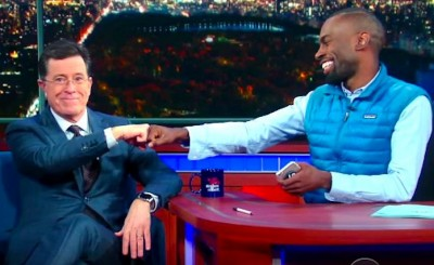 DeRay Mckesson discussed white privilege and police brutality during a recent appearance on Stephen Colbert's show. (Photo credit: rawstory.com)