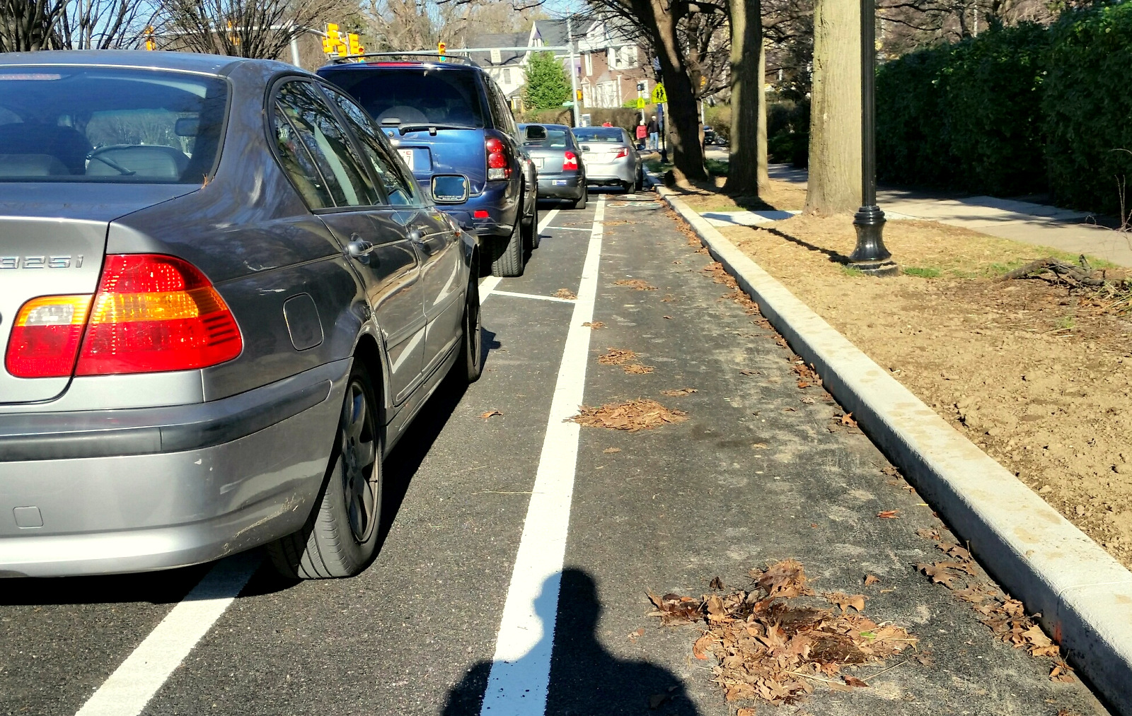 Parked cars crowd alongside the cycle track on Roland Avenue near Wyndhurst. (Mark Reutter)