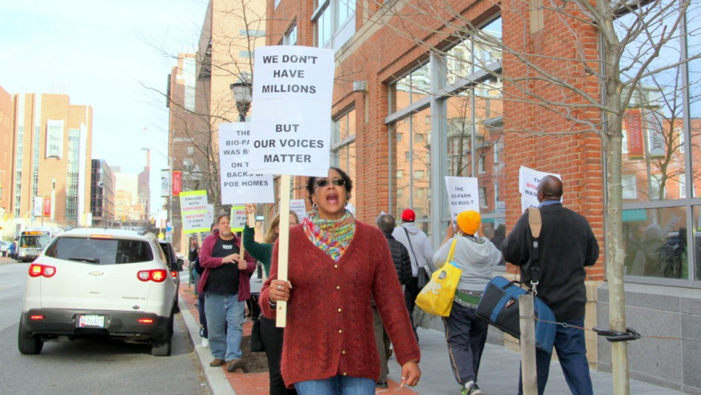 Demonstration outside the U-MD BioPark. (Photo by Fern Shen)