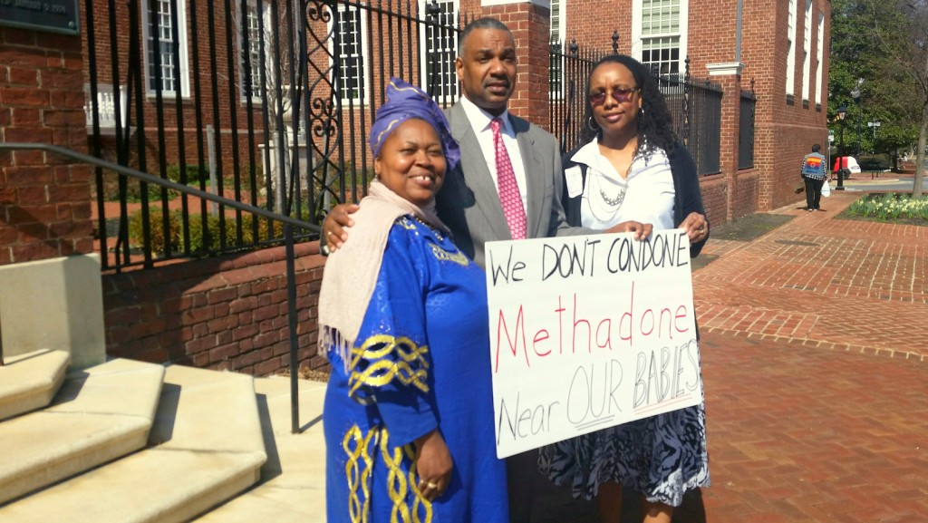 Sister Yeshiyah Israel, Derrick Lennon and Rev. Terrye Moore stand outside of the Senate Building complex in Annapolis on Wednesday. (Mark Reutter)