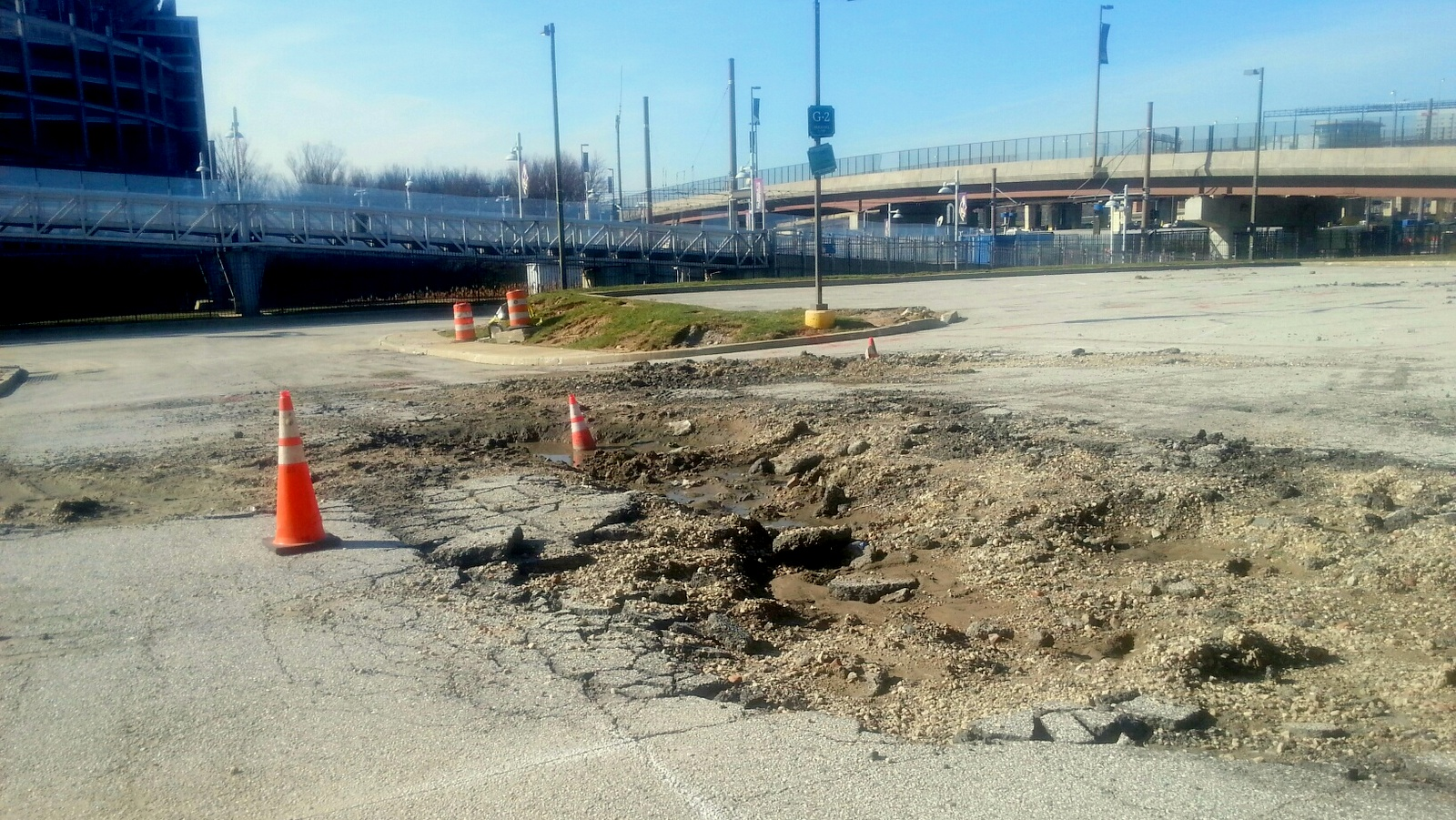 Craters left behind at the stadium after snow from Baltimore's record-setting January snowfall was dumped there. (Photo by Ed Gunts.)