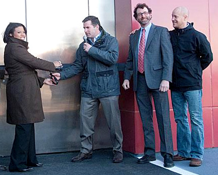Mayor Rawlings-Blake and Under Armour CEO Kevin A. Plank cut the ribbon for Under Armour's innovation lab at Locust Point in 2011. (Brew file photo)
