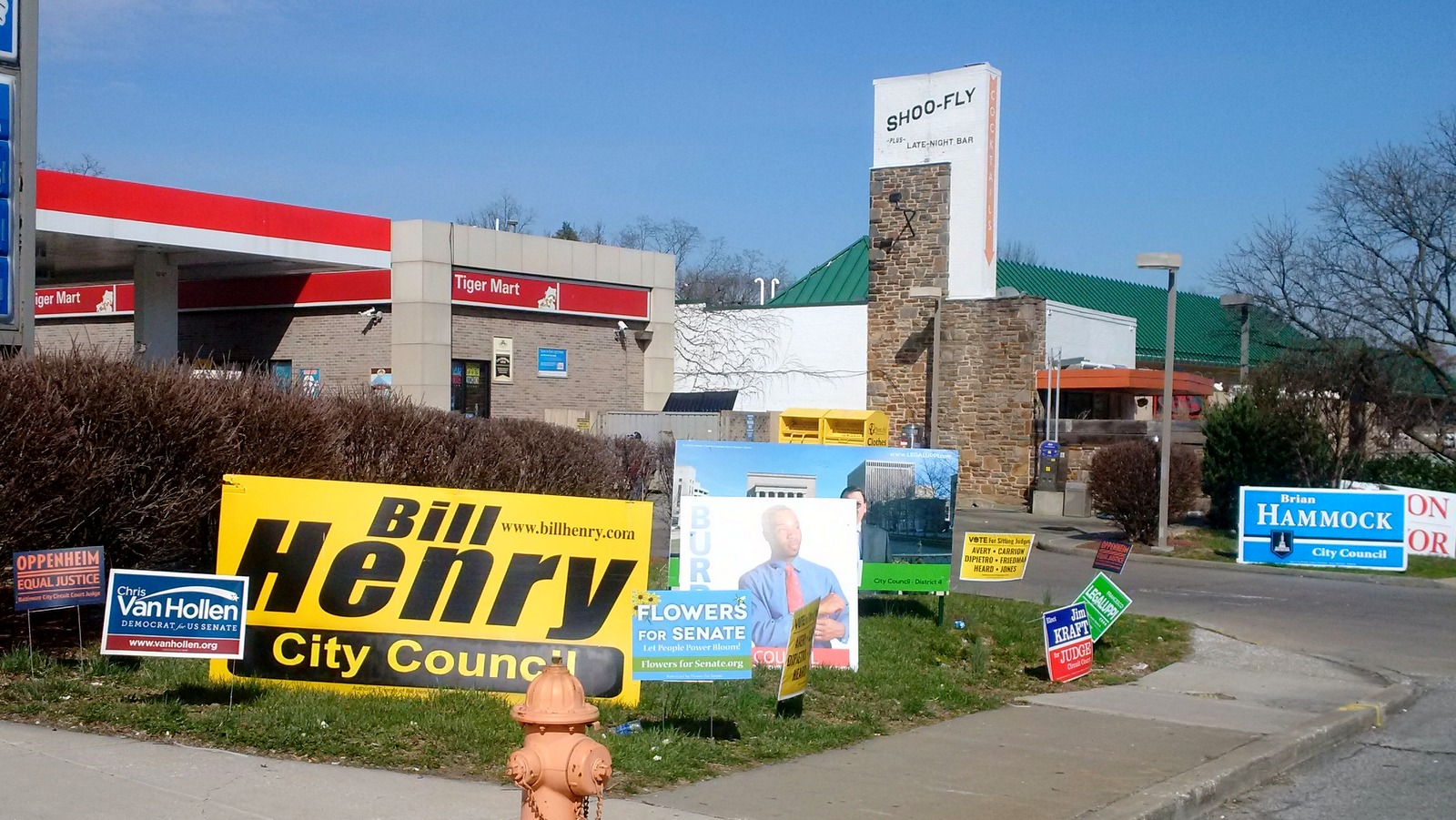 At the corner of York Road and Belvedere Avenue, a cluster of 2016 campaign signs. (Fern Shen)