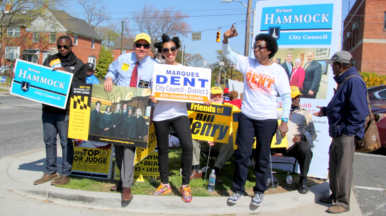 Circuit Court Judge Michael DiPietro campaigning outside one of Baltimore's early voting sites last week. (Fern Shen)