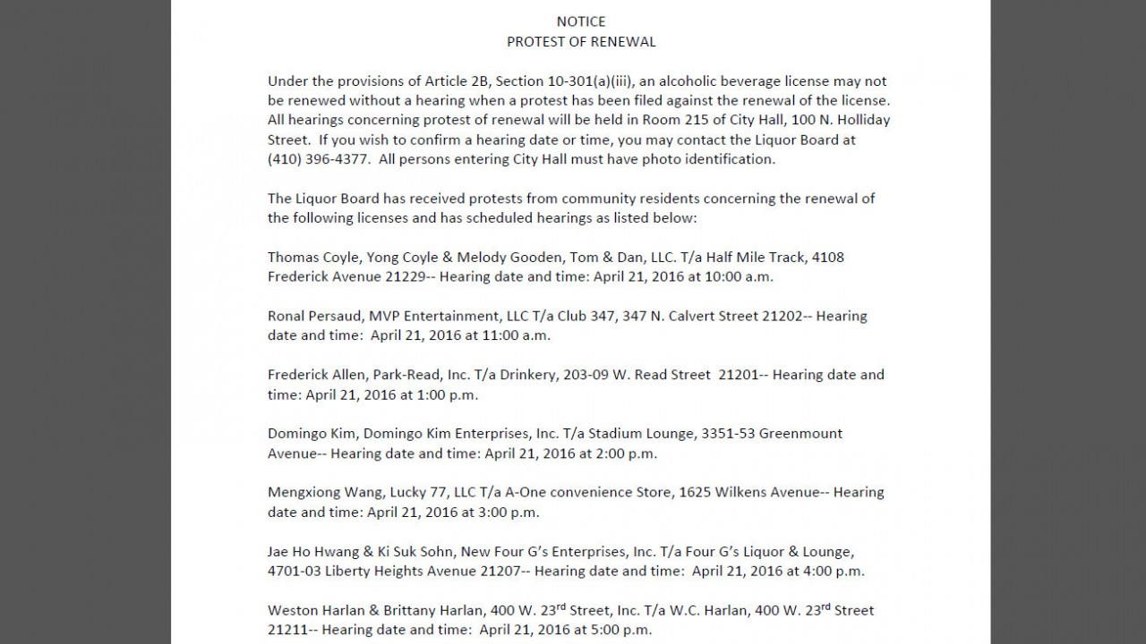 Protest of Renewal cases scheduled to be heard on April 21, 2016. (Baltimore Board of Liquor License Commissioners)