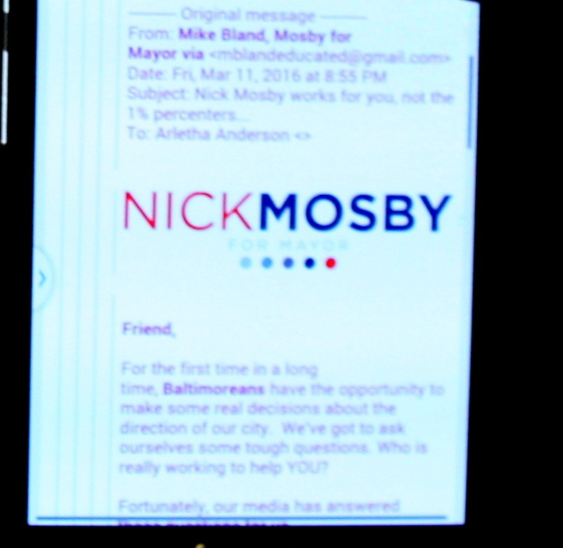Email that Nick Mosby says was doctored to appear as if it was sent by his campaign. (Fern Shen)